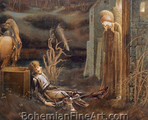 Edward Burne-Jones, The Dream of Launcelot at the Chapel Fine Art Reproduction Oil Painting