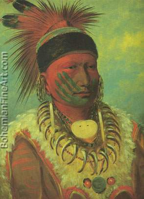 George Catlin, The White Cloud+ Head Chief of the Iowas Fine Art Reproduction Oil Painting