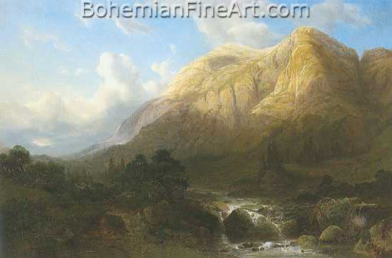 Alexandre Calame, Mountain Pass Fine Art Reproduction Oil Painting