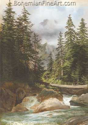 Alexandre Calame, Mountain Stream Fine Art Reproduction Oil Painting