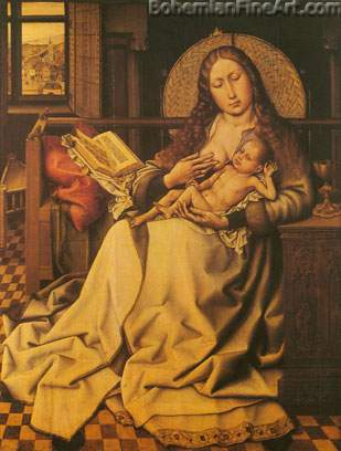 Robert Campin, The Virgin and Child before a Firescreen Fine Art Reproduction Oil Painting