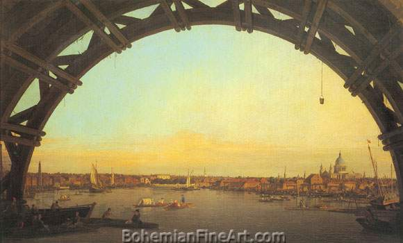 Giovanni Canaletto, London:Seen through the arch of Westminster Bridge Fine Art Reproduction Oil Painting