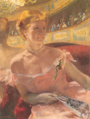 Mary Cassatt, Woman with a Pearl Necklace in a Loge Fine Art Reproduction Oil Painting