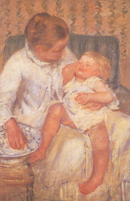 Mary Cassatt, Mother About to Wash Her Sleepy Child Fine Art Reproduction Oil Painting