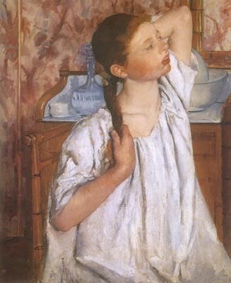 Mary Cassatt, Girl Arranging Her Hair Fine Art Reproduction Oil Painting