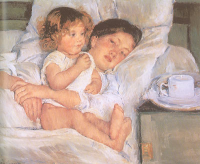 Mary Cassatt, Breakfast in Bed Fine Art Reproduction Oil Painting