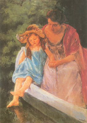 Mary Cassatt, Mother and Child in a Boat Fine Art Reproduction Oil Painting