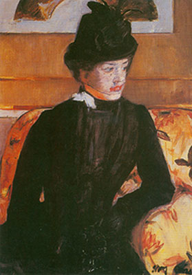 Mary Cassatt, Portrait of a Young Woman in Black Fine Art Reproduction Oil Painting