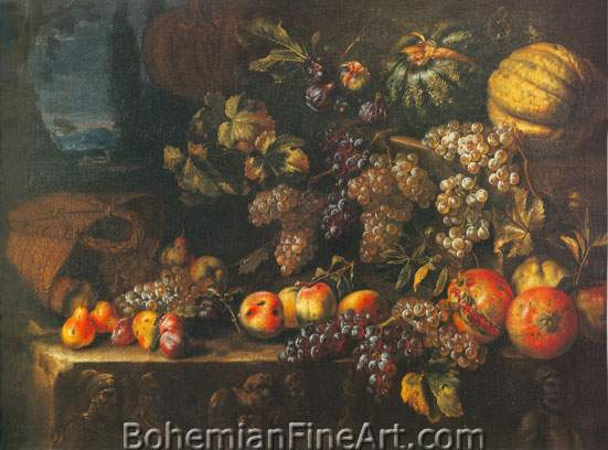 Michelangelo Cerquozzi, Still Life with Fruit Fine Art Reproduction Oil Painting