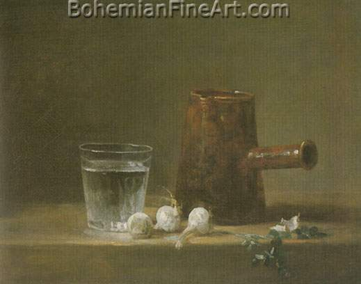 Jean-Baptiste-Simeon Chardin, Water Glass and Jug Fine Art Reproduction Oil Painting