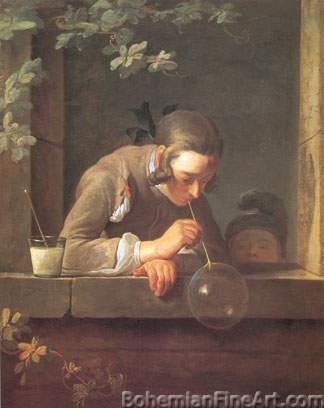 Jean-Baptiste-Simeon Chardin, Soap Bubbles Fine Art Reproduction Oil Painting