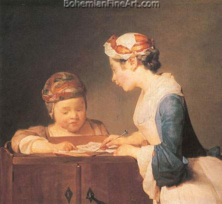 Jean-Baptiste-Simeon Chardin, The Schoolmistress Fine Art Reproduction Oil Painting