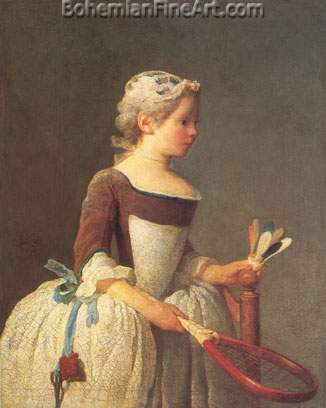 Jean-Baptiste-Simeon Chardin, Girl wth Shuttlecock Fine Art Reproduction Oil Painting
