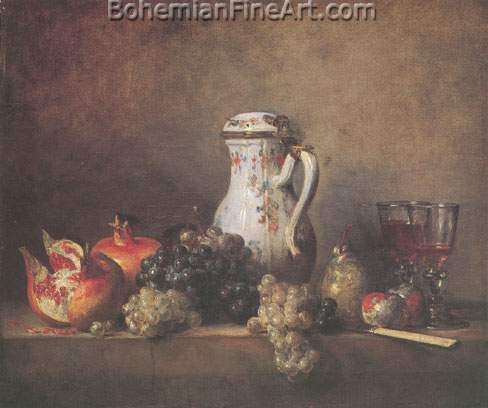 Jean-Baptiste-Simeon Chardin, Grapes and Pomegranates Fine Art Reproduction Oil Painting