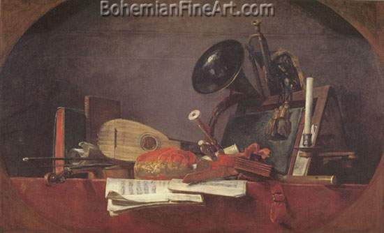 Jean-Baptiste-Simeon Chardin, The Attributes of Music Fine Art Reproduction Oil Painting