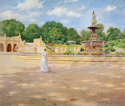 William Merritt Chase, An Early Stroll in the Park Fine Art Reproduction Oil Painting