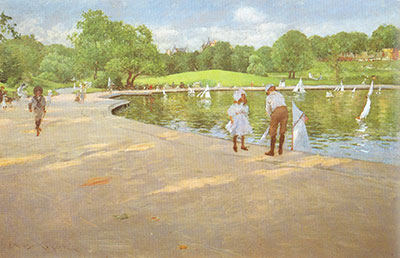 William Merritt Chase, Lake for Minature Sailboats, Central Park Fine Art Reproduction Oil Painting