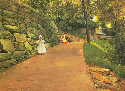 William Merritt Chase, In the Park. A By-Path Fine Art Reproduction Oil Painting