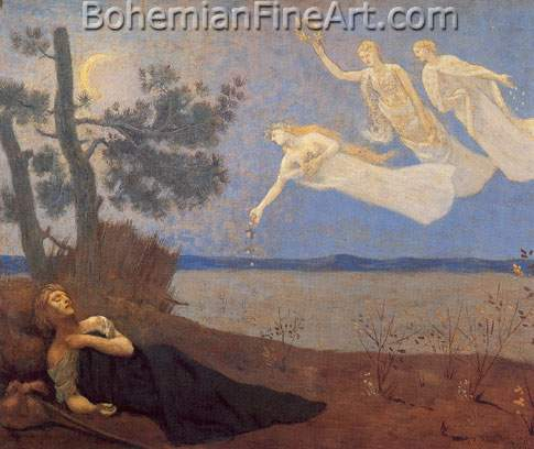 Pierre Puvis de Chavannes, The Dream Fine Art Reproduction Oil Painting