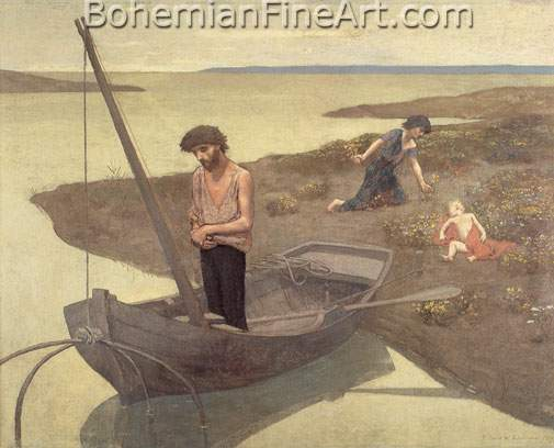Pierre Puvis de Chavannes, The Poor Fisherman Fine Art Reproduction Oil Painting