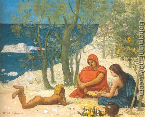 Pierre Puvis de Chavannes, Greek Colony in Massilia Fine Art Reproduction Oil Painting
