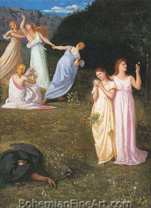 Pierre Puvis de Chavannes, Death of the Maidens Fine Art Reproduction Oil Painting