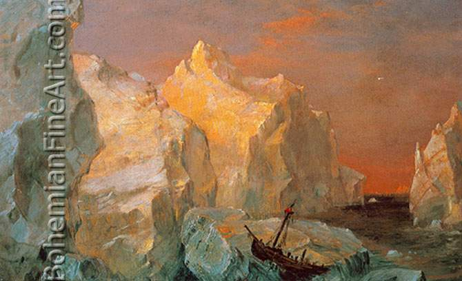 Frederic Edwin Church, Icebergs and Wreck in Sunset Fine Art Reproduction Oil Painting