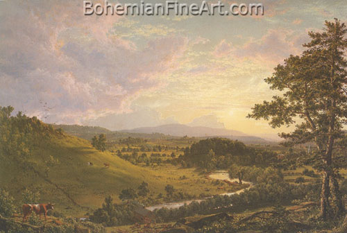 Frederic Edwin Church, View near Stockbridge+ Mass. Fine Art Reproduction Oil Painting