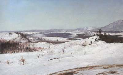 Frederic Edwin Church, View from Olana in the Snow Fine Art Reproduction Oil Painting