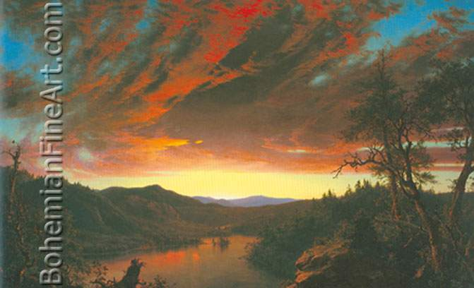 Frederic Edwin Church, Twilight in the Wilderness Fine Art Reproduction Oil Painting