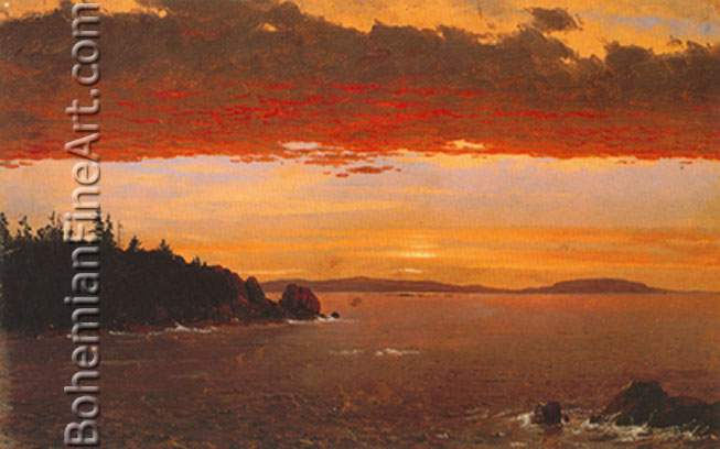Frederic Edwin Church, Schoodic Peninsula from Mount Desert+ Sunrise Fine Art Reproduction Oil Painting