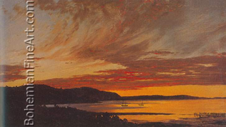 Frederic Edwin Church, Sunset+ Bar Harbour Fine Art Reproduction Oil Painting
