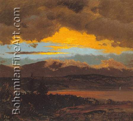 Frederic Edwin Church, Sunset across the Hudson Valley Fine Art Reproduction Oil Painting
