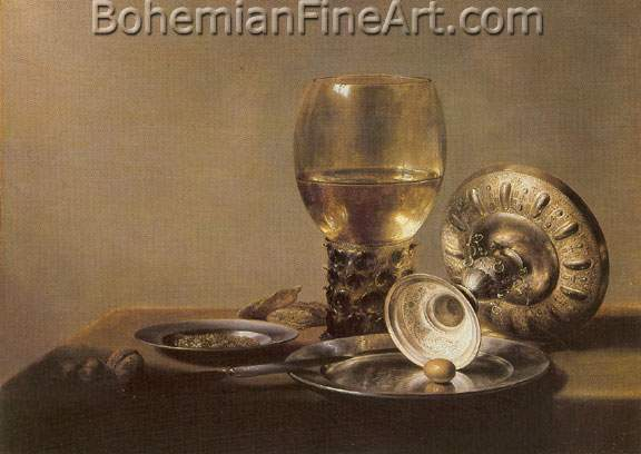 Pieter Claesz, Still Life with Wine Glass and Silver Bowl Fine Art Reproduction Oil Painting