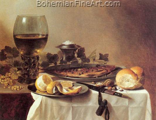 Pieter Claesz, Still Life with Herring+ Wine and Bread Fine Art Reproduction Oil Painting