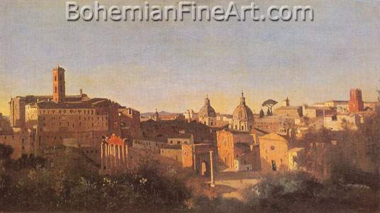 Jean-Baptiste-Camille Corot, The Forum seen from the Farnese Gardens Fine Art Reproduction Oil Painting