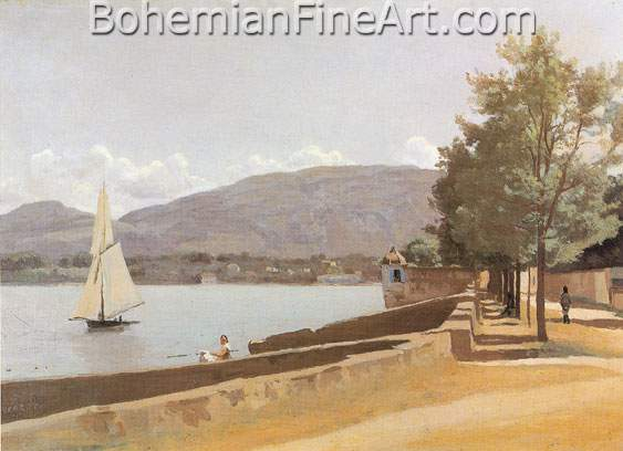 Jean-Baptiste-Camille Corot, The Quai des Paquis in Geneva Fine Art Reproduction Oil Painting