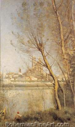 Jean-Baptiste-Camille Corot, View of Mantes Fine Art Reproduction Oil Painting
