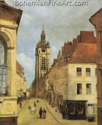 Jean-Baptiste-Camille Corot, The Belfry of Douai Fine Art Reproduction Oil Painting