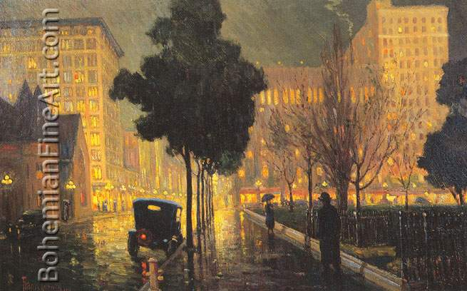 Frank Coburn, Rainy Night Fine Art Reproduction Oil Painting