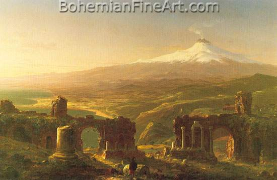 Thomas Cole, Mount Etna from Taormina Fine Art Reproduction Oil Painting