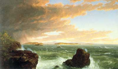 Thomas Cole, View from Frenchman's Bay Fine Art Reproduction Oil Painting