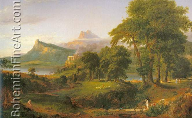 Thomas Cole, The Course of Empire: The Pastoral State Fine Art Reproduction Oil Painting