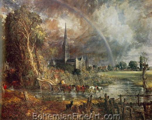 John Constable, Salisbury Cathedral from the Meadows Fine Art Reproduction Oil Painting