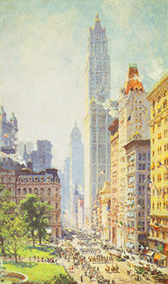 Colin Campbell Cooper, Lower Broadway in Wartime Fine Art Reproduction Oil Painting