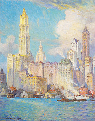 Colin Campbell Cooper, Wall Street Fine Art Reproduction Oil Painting