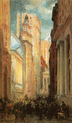 Colin Campbell Cooper, View of Wall Street Fine Art Reproduction Oil Painting