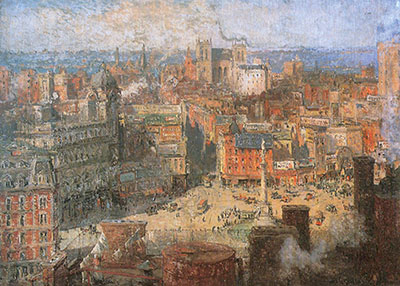 Colin Campbell Cooper, Columbus Circle Fine Art Reproduction Oil Painting