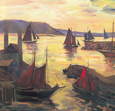 Fern I. Coppedge, Red Sails in the Sunset Fine Art Reproduction Oil Painting