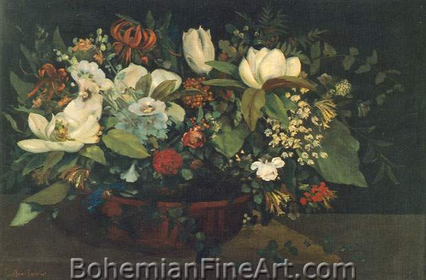 Gustave Courbet, Basket of Flowers Fine Art Reproduction Oil Painting